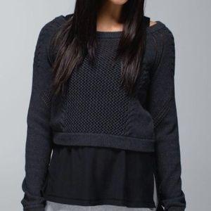 Lululemon Be Present Cropped Sweater Grey 8